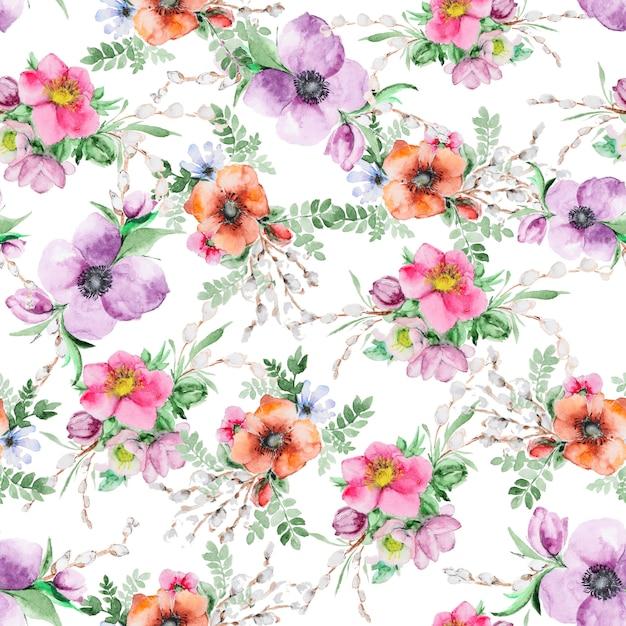 Stampa di fiori ad acquerello Foto Premium