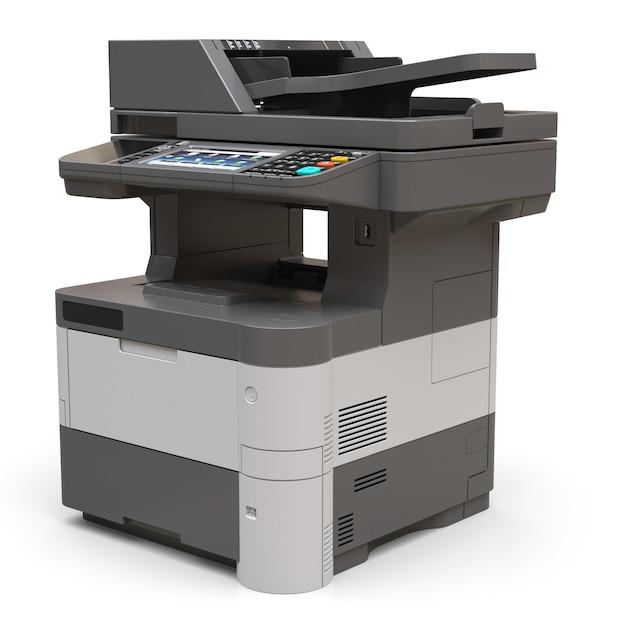 Stampante laser sulla superficie bianca Foto Premium