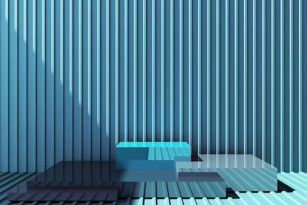 Stand prodotto con parete in lamiera blu Foto Premium