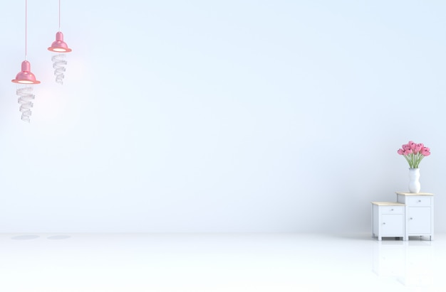 Stanza bianca vuota con muro di cemento piastrelle lampada