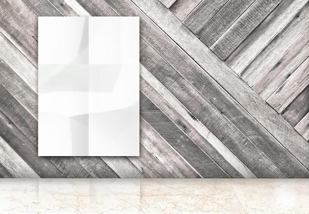 Pareti In Legno Bianco : Stanza con appeso manifesto bianco spiegazzato bianco a
