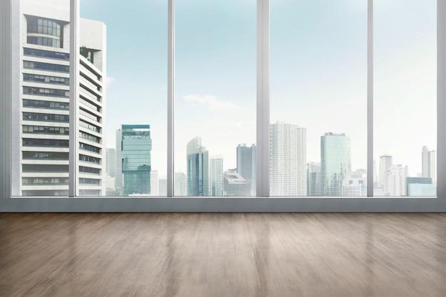 Stanza dell'ufficio vuota con pavimento in legno Foto Premium