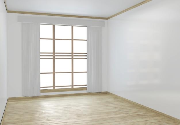Stanza vuota bianca sul design degli interni del pavimento in legno Foto Premium