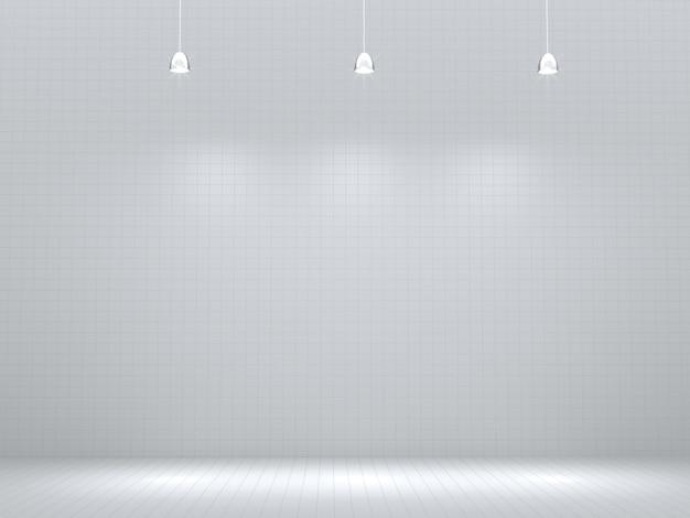 Stanza vuota con punto luminoso, vuoto per la vetrina del prodotto. rendering 3d. Foto Premium