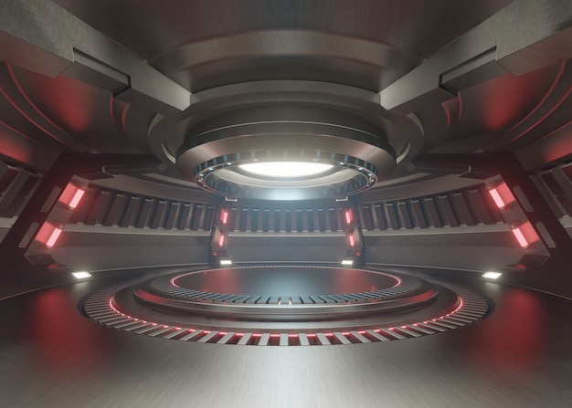 Stanza vuota dello studio blu-chiaro interno futuristico con la fase vuota con luci rosse. Foto Premium