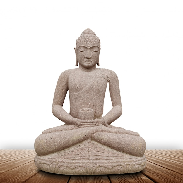 Statua di buddha nel fondo bianco Foto Premium