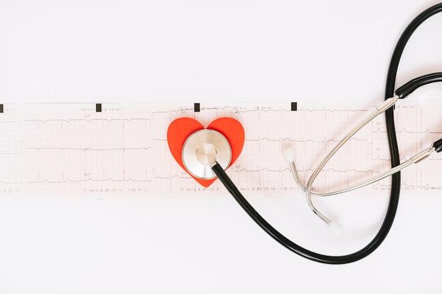 Stetoscopio e cuore sul cardiogramma Foto Gratuite