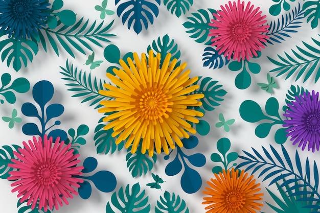 Stile di carta colorata fiore, mestiere di carta floreale, carta farfalla Foto Premium