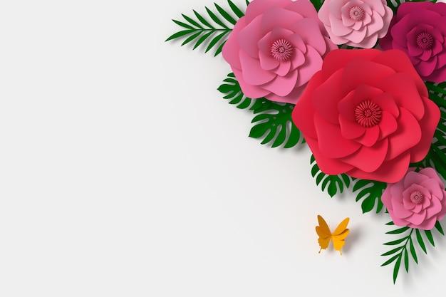 Stile di carta del fiore, mestiere di carta floreale, mosca di carta della farfalla, rappresentazione 3d Foto Premium