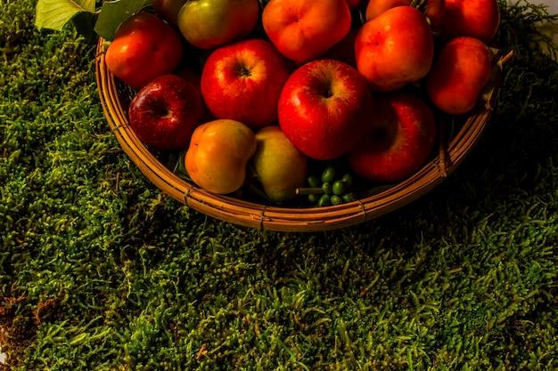 Still life con zucche persimmone mais e mele sul tavolo in legno sfondo nero Foto Premium