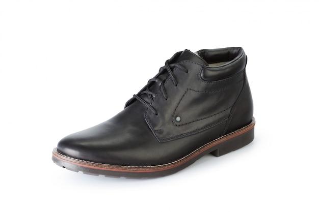 Stivaletti maschii delle scarpe isolati su fondo bianco Foto Premium
