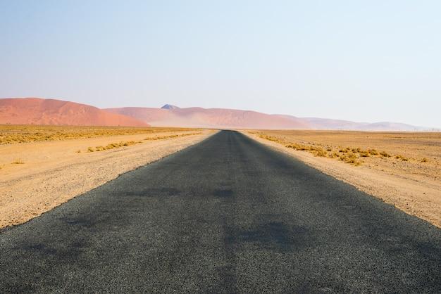 Strada che attraversa il deserto del namib Foto Premium