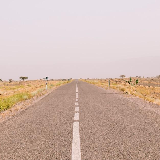 Strada nel paesaggio del deserto nel marocco Foto Gratuite
