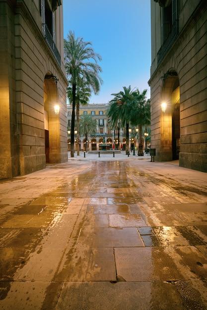 Stradina di ingresso a plaza real a barcellona, spagna Foto Premium