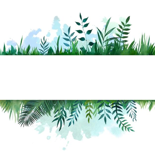 Striscione incorniciato acquerello con foglie botaniche Foto Premium
