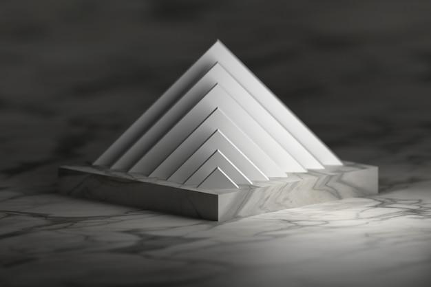 Struttura a piramide sul podio del piedistallo. oggetti astratti con struttura di marmo. Foto Premium