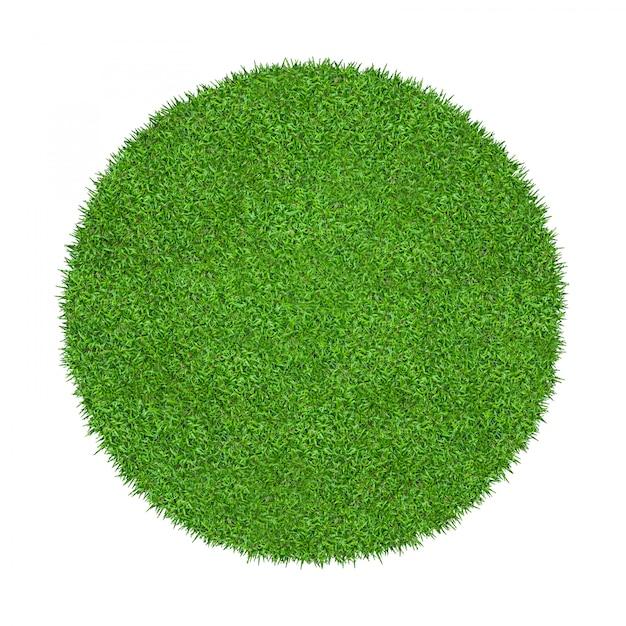Struttura astratta dell'erba verde per fondo. cerchio verde erba isolato Foto Premium