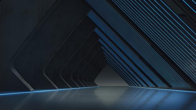 Struttura astratta, vetrina del prodotto con bagliore di luce. rendering 3d Foto Premium