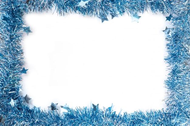 Struttura del nuovo anno di lamé blu su fondo bianco Foto Premium