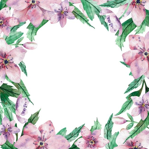 Struttura floreale rosa quadrata dell'acquerello con i fiori e lo spazio bianco centrale della copia per testo Foto Premium