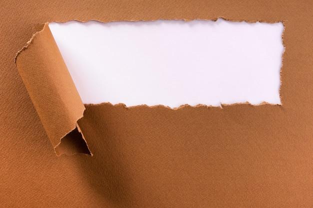 Struttura lacerata del fondo dell'intestazione della striscia della carta marrone Foto Premium