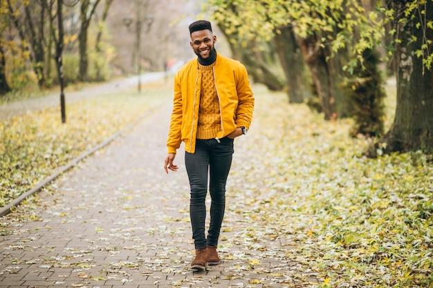 Studente afroamericano che cammina nel parco Foto Gratuite