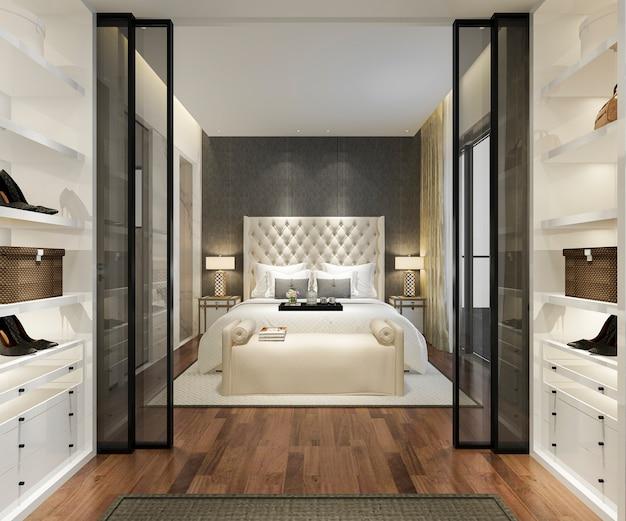 Suite di camera da letto moderna di lusso di rendering 3d con armadio e cabina armadio Foto Premium