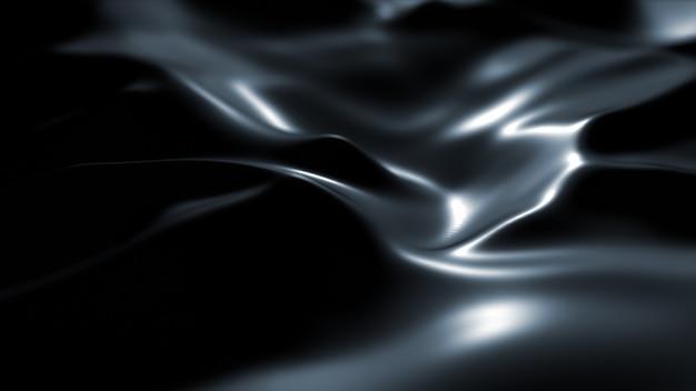 Superficie scura con riflessi. sfondo liscio onde minimali nere. onde di seta sfocate. flusso minimo di increspature in scala di grigi. Foto Gratuite
