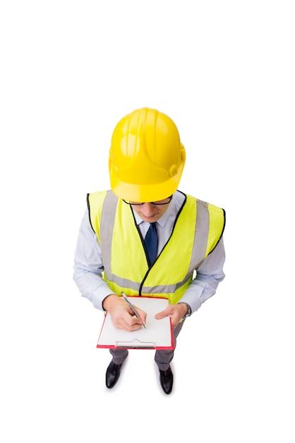 Supervisore della costruzione isolato sui precedenti bianchi Foto Premium