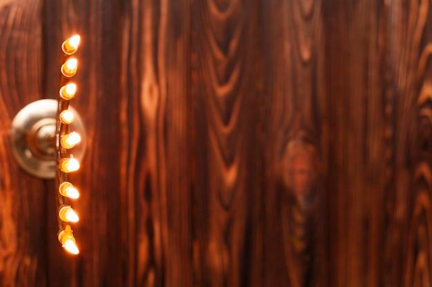 Supporto per lume di candela vista dall'alto con spazio di copia Foto Gratuite