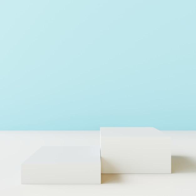 Supporto per prodotto vuoto con parete blu. Foto Premium