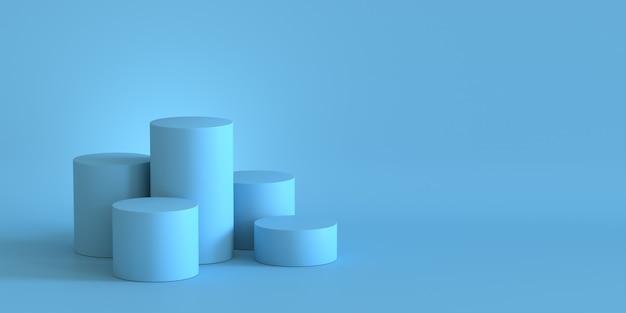 Svuoti il podio blu pastello sul fondo in bianco della parete. rendering 3d. Foto Premium