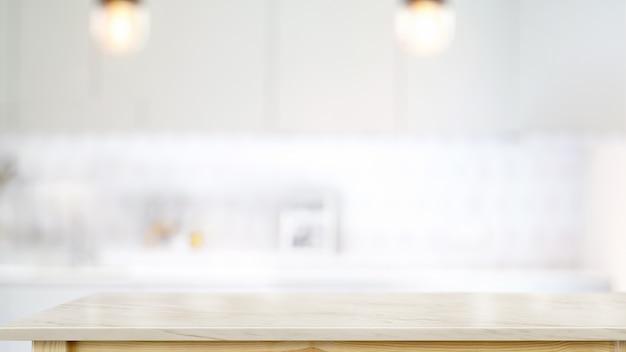 Svuoti il tavolino di marmo bianco nel fondo moderno della stanza della cucina. Foto Premium