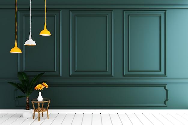 Svuoti l'interiore della stanza di lusso con la parete verde scuro sul pavimento di legno bianco. rendering 3d Foto Premium