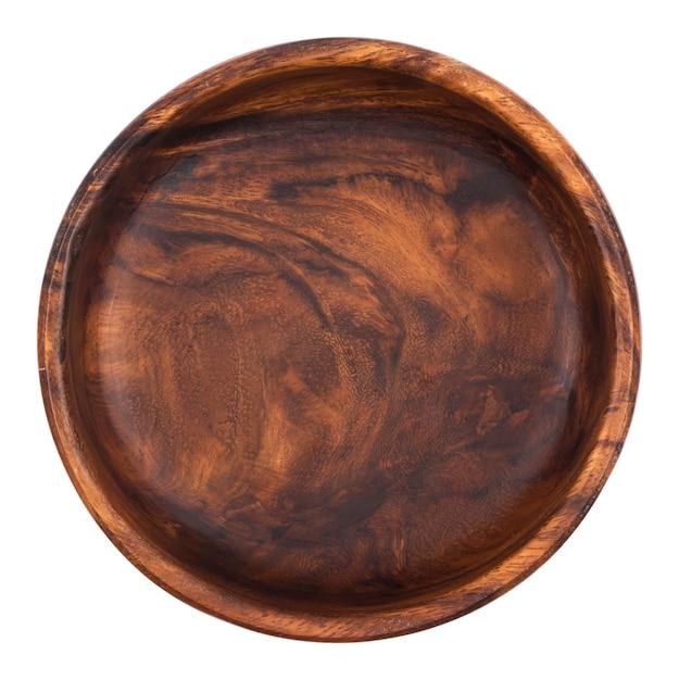 Svuoti la ciotola di legno isolata sulla vista bianca e superiore Foto Premium
