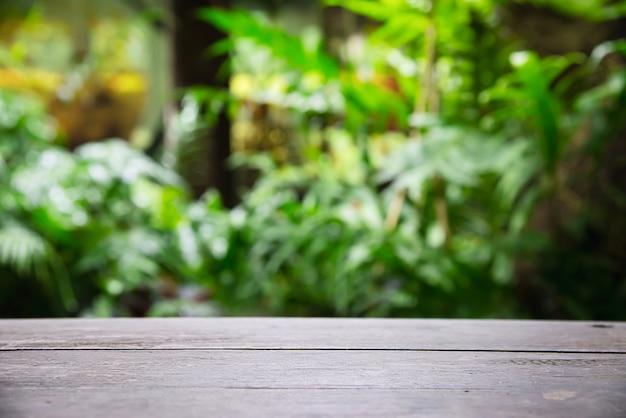 Svuoti lo spazio del pavimento di legno della plancia con le foglie verdi del giardino, spazio di visualizzazione del prodotto con la natura verde fresca Foto Gratuite