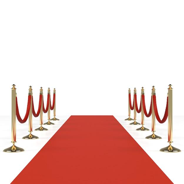 Tappeto rosso con corde rosse Foto Premium