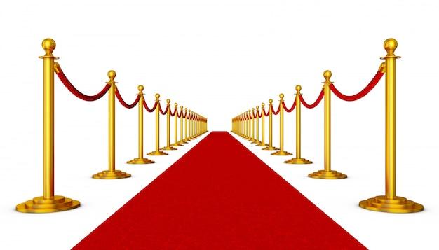 Tappeto rosso e colonne con corde rosse su sfondo bianco Foto Premium