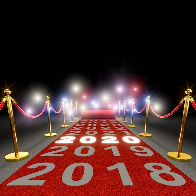 Tappeto rosso e incandescente 2020. Foto Premium