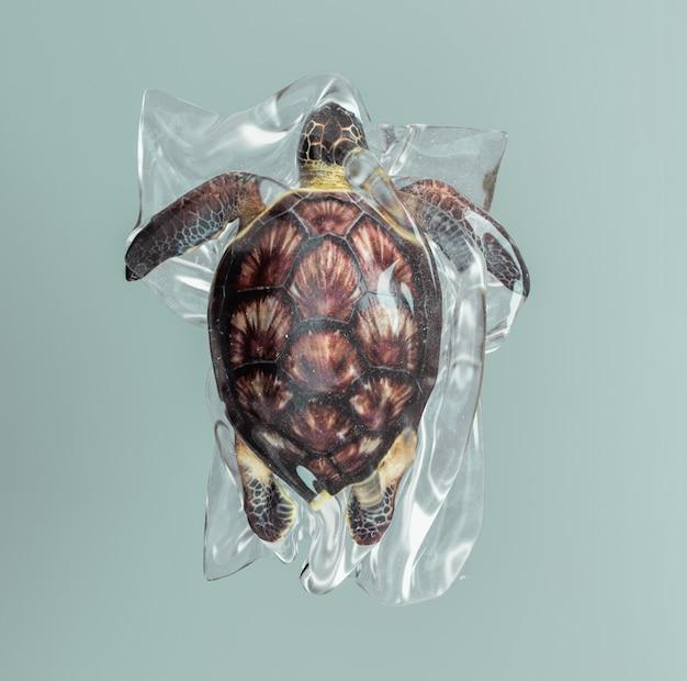 Tartaruga intrappolata in un sacchetto di plastica. Foto Premium