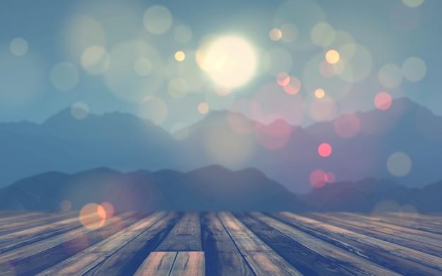 Tavola di legno 3d che osserva fuori ad un paesaggio della montagna Foto Gratuite