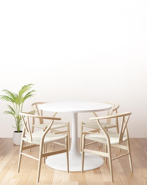 Tavolo da pranzo con la parete vuota, vista laterale, rappresentazione 3d Foto Premium