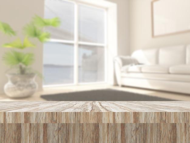 Tavolo in legno 3d contro un interno salone defocussed Foto Gratuite