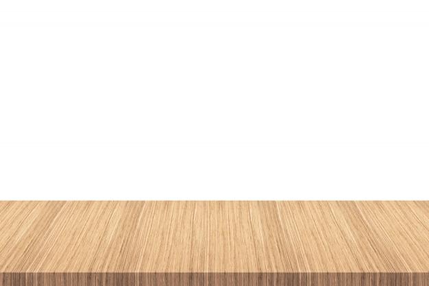 Tavolo in legno vuoto isolato su sfondo bianco - può essere utilizzato per visualizzare o montare i tuoi prodotti. Foto Premium