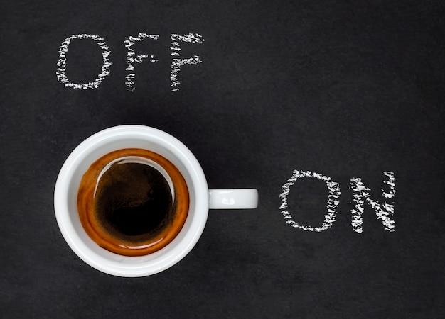 Tazza caffè espresso, concetto on e off. Foto Premium