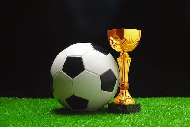 Tazza di calcio con la palla di calcio su erba Foto Premium