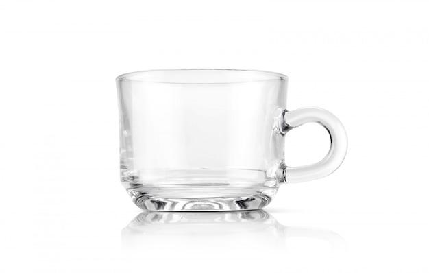 Tazza di tè trasparente isolata su fondo bianco Foto Premium