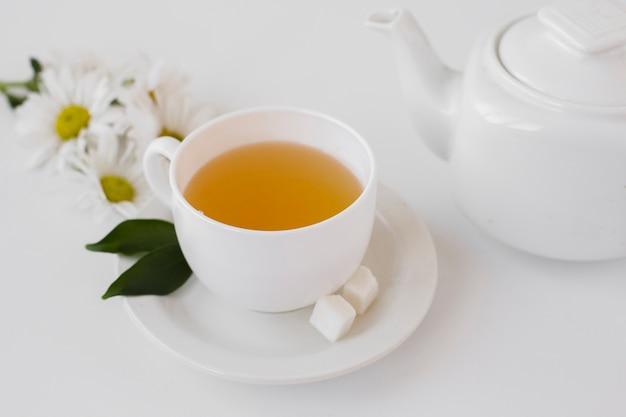 Tè aromatico del primo piano in una tazza su un vassoio Foto Gratuite