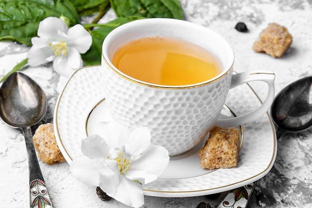 Tè verde cinese al gelsomino Foto Premium
