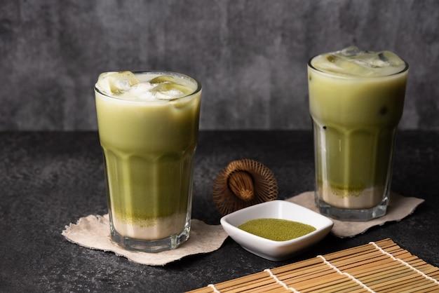 Tè verde ghiaccio cibo latte Foto Premium